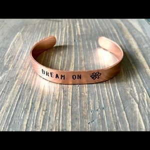 Hand stamped adjustable metal cuff bracelet
